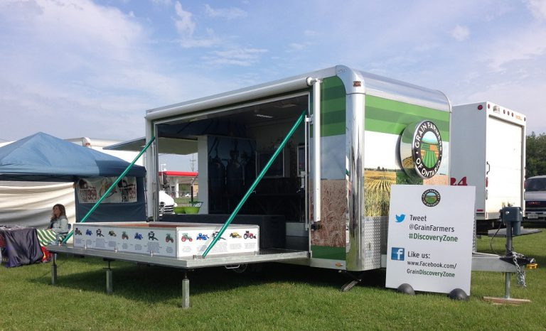 Grain Discovery Zone trailer on the lawn at an event