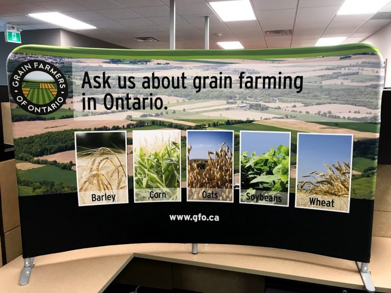 table top display with photos about grain farming in Ontario